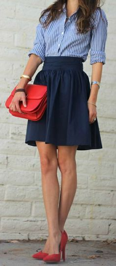 love this navy stripe and skirt