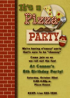 Pizza Party Birthday Party Invitation  Boy by DecidedlyDigital, $15.00 Pizza Party Birthday, Birthday Party Invitations, Boy Birthday, Birthday Ideas, Happy Birthday, Pizza King, Invitation Wording, Custom Invitations, Invites