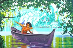 The Arawak indians came from the mainland and crossed the sea by canoe. Outdoor Furniture, Outdoor Decor, Canoe, Hammock, Underwater, Artist, Painting, Artists, Painting Art