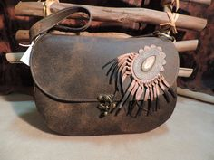 Brown distressed Leather Art bag by RoundOakLeather on Etsy