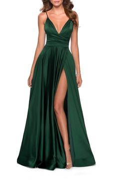Parade your classy style on your prom with this satin dress by La Femme! Shop here: . La Femme - 28607 Sleeveless Deep V Neck High Leg Slit A-Line Gown Cute Prom Dresses, Party Dresses, Long Dresses, Pageant Dresses, Occasion Dresses, Wedding Dresses, Long Prom Gowns, Dresses Dresses, Dresses Online