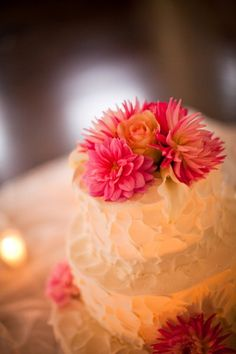 Cake Toppers Wedding Cakes Photos on WeddingWire...Love the painterly brush strokes on the icing and the dahlias are elegant and sexy. Beautiful cake for any occassion.