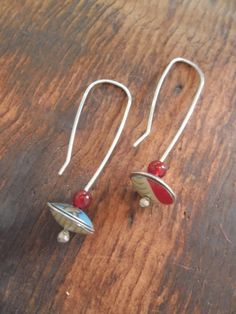Pomegranate up-cycled tins earrings. by fluxplay on Etsy