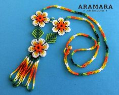 Dimensions -Necklace Length inches cms) Diameter of the flower inch cms) -Earrings Length inches cms) Diameter of the flowers is inch cms) The Huichol represent one of the few remaining indigenous cultures left in Mexico. They live in self-imposed Crochet Necklace, Beaded Necklace, Beaded Bracelets, Huichol Art, Native American Earrings, Mexican Jewelry, Hair Beads, Bead Art, Etsy Earrings