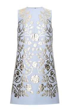 Virgin Wool Shift Dress With Laser Cut Leather Appliqué by DOLCE & GABBANA Now Available on Moda Operandi