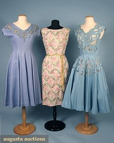 3 Summer Dresses, 1950s, Augusta Auctions, April 2006 Vintage Clothing & Textile Auction, Lot 411