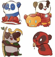 Captain Panda, Iron Panda, Lokipanda, PandaPool.  Via Robert Downey jr.'s facebook page