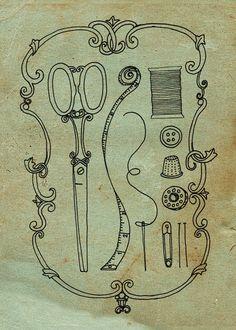 Notions print - original illustration  #Etsy #sewing