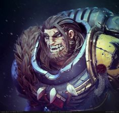 Warhammer Portrait: Space Wolf by Marco Puricelli Warhammer 40k Space Wolves, Warhammer 40k Art, Space Wolf, Anime Films, Dnd Characters, Character Portraits, Space Marine, Cool Art, Awesome Art