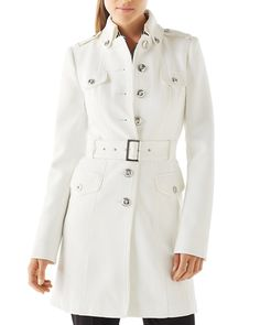 Olivia Pope's Burberry coat may have sold out, but we found 8 white trenches inspired by her look! WHITE HOUSE BLACK MARKET $248; whitehouseblackmarket.com.