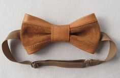 natural leather bowtie natural suede bowtie bow tie butterfly pretied bowtie casual hipster rustic brown tobacco copper