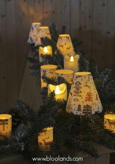 Sans danger ! Bougies LED à flamme oscillante, photophores LED et abats-jour de Noel.