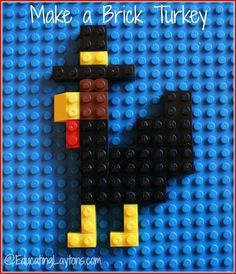 Make a Brick Turkey via EducatingLaytons.com #lego