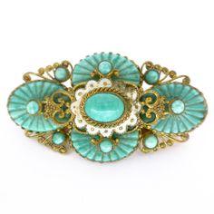 Vintage Czech Art Deco Neiger Wave Peking Glass Gold Tone Pin Brooch | Clarice Jewellery | Vintage Jewellery | Vintage Costume Jewellery