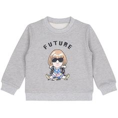 Ground-Zero 'Future Anna' cropped cotton kids sweatshirt ($50) ❤ liked on Polyvore featuring tops, hoodies, sweatshirts, grey, sweater pullover, cotton sweatshirts, cotton pullover sweatshirt, grey pullover and grey crop top