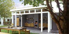 Buitenkeuken: een houten keuken voor een bourgondische levenstijl