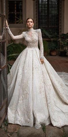 lace ball gown wedding dresses with long sleeves high neck with train millanova hochzeitsgast dresses Long Wedding Dresses, Wedding Dress Sleeves, Princess Wedding Dresses, Bridal Dresses, Lace Dress, Gown Wedding, Fashion Wedding Dress, Turtleneck Wedding Dress, Couture Wedding Gowns