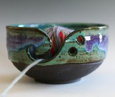 I don't knit or crochet but I'd love to have this-Yarn Bowl handmade stoneware potteryhandmade ceramic by ocpottery