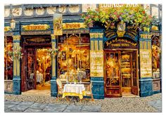 "London for Two is a 1000 piece jigsaw puzzle part of the Viktor Shvaiko artist series from Educa. Shvaiko is a Russian artist known for his scenes of cafés around Europe. Puzzle measures 25.75"" x 18.75[ when complete. Released 2013.  The Viktor Shvaiko series includes:   	Au Bon Chabrot 	London for Two 	Trattoria Tre Marchetti 	White Lion"