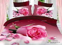 3D roxo de rosa floral consolador conjunto de cama rainha edredons edredon colcha de cama colcha lençol(China (Mainland))