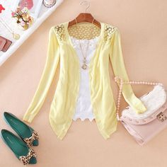 Summer Lace Cardigan Women Blouse Candy Color Shirt Back Hollow out Knitted Crochet Tops For Ladies Female Blusa Feminina 2016