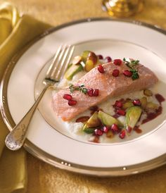 Olive Oil Poached Salmon with Pomegranate Spiced Cider Jus, Baby ...