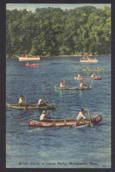 Minneapolis-MN-Canoe Derby-Linen Postcard | eBay