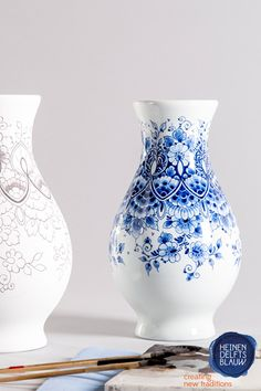 The Delft blue items are painted by hand and we use paint brushes made out of hairs of squirrels. Blue Flower Tattoos, Blue Tattoo, Blue Painting, Ceramic Painting, Delft, Purple Flowers, Exotic Flowers, Yellow Roses, Pink Roses