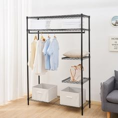 Shop for Household Multi-function Heavy-Duty Wire Shelving Garment Rack. Get free delivery On EVERYTHING* Overstock - Your Online Housewares Shop! Get in rewards with Club O! Closet Hangers, Clothes Hanger, Hanger Hooks, Closet Racks, Do It Yourself Organization, Closet Organization, Wire Shelving, Adjustable Shelving, Portable Closet