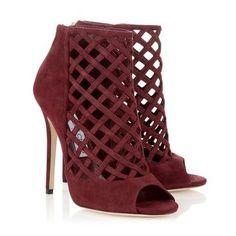 Claret Suede Peep Toe Boots | Designer Ankle Boots | Dane | JIMMY CHOO Boots