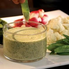 Feta & Herb Dip with Crudites  Lots of freshly chopped herbs add zing to our white bean dip. Serve with assorted vegetables, such as baby carrots, bell pepper strips, radishes, snow peas, broccoli and cauliflower florets.