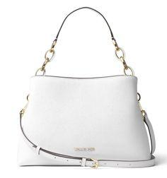 20d95f8b54ef NWT MICHAEL Michael Kors Portia Large Saffiano Leather Shoulder Bag OPTIC  WHITE #michael #shoulder #optic #white #leather #saffiano #kors #portia # large