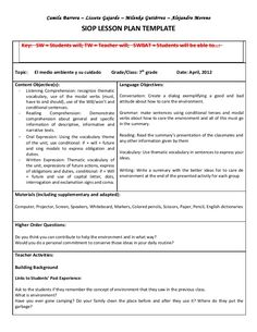 Siop model lesson plan recipe for writing a persuasive for Teaching strategies gold lesson plan template