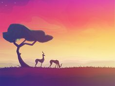 Image of gazelles in a dry environment (Africa): ombré background highlights time of the day (early morning or evening) and create a contrast to the darker colours used to emphasise the shadows. By Julien Coppola Art Et Illustration, Illustrations, Cartoon Design, Cartoon Styles, Savanna Tree, Minimalist Wallpaper, Oeuvre D'art, Landscape Art, Pixel Art
