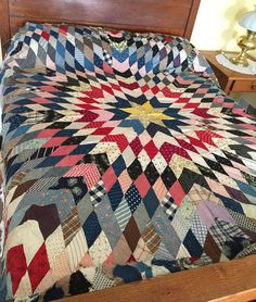 Vintage Lone Star Quilt Top Cotton Prints Woven by AStringorTwo