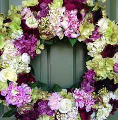 Green, Eggplant, and White Wreath Wreath by CelebrateAndDecorate