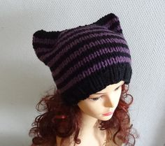 Cat Ears Hat Cat Beanie Chunky Knit Winter Accessories by Ifonka, $30.00