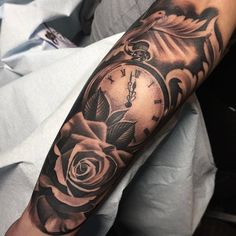 Amazing artist Ricardo Avila @ricardo__avila awesome pocket watch elegant rose dove design tattoo! ...
