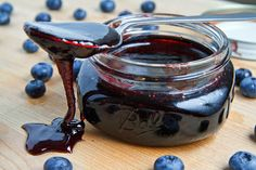 "Blueberry caramel sauce - ""A sticky and sweet caramel sauce infused with the fresh and summery flavour of blueberries."""