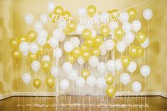 Michaels.com Wedding Department: Just Married Balloon Backdrop Balloons make an easy DIY backdrop that sets a party mood in your reception hall! Use Celebrate It� balloons that match your wedding decor. Designed by Bows and Arrows.