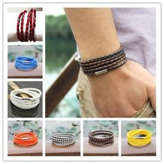 Factory Direct Sale,95cm brown with black rope bracelets ! 5 Laps Fashion Leather Bracelet, Men And Women pulseira de couro
