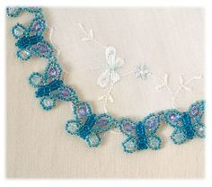 Free Bead Patterns and Ideas : The original Butterfly necklace tutorial by Sandra D Halpenny