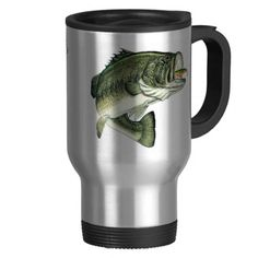 A fisherman's choice!... A beautiful Thermal Mug with a BIG mouth Bass on it getting hooked!