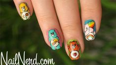 nailnerd-com:    Care Bears nail art on an NYX polish base