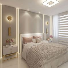 Clean and cozy room with gold sconces and knitted blanket _______________ . Master Bedroom Interior, Home Room Design, Girl Bedroom Designs, Master Bedroom Design, Home Interior, Home Decor Bedroom, Living Room Decor, Bedroom Design Inspiration, Stylish Bedroom