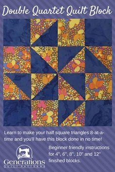 """Double Quartet Quilt Block: 4"""", 6"""", 8"""", 10"""", 12"""" finished"""
