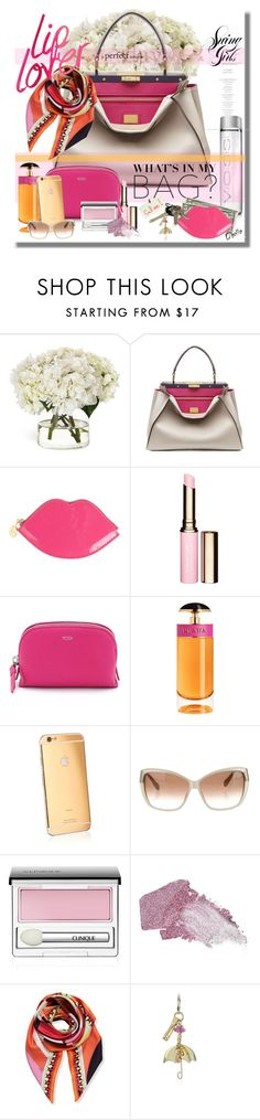"""My Life...In My Bag..."" by desert-belle ❤ liked on Polyvore featuring Diane James, Fendi, Lulu Guinness, Clarins, Tumi, Prada, Goldgenie, Oliver Peoples, Clinique and Urban Decay"