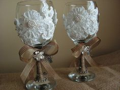 Customized Rustic Wedding Toasting Flutes Champagne by Mydaisy2000, $48.00