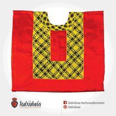 Huipil de Golpe rojo, con tejido de cadenilla en hilos amarillo y negro.
