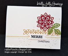 2016 Simple Merry Christmas Stamps: Holly Jolly Greetings Ink: Crumb Cake, Archival Basic Black Paper: Whisper White, Gold Foil, Cherry Cobbler, Old Olive Accessories: Flourish Thinlits, Gold Natural Trim